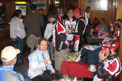 Sunday's Stage: Montreaux, Switzerland to Pre Ste Didier, Italy, by way of the Col du Grand St. Bernard...or as it was so lovingly coined by a rider: Col du Son-of-a-Bitch!  It rained the entire 53 miles to the top (about 25 miles of climbing), and here the group takes over a bar for hot coffee and grub.