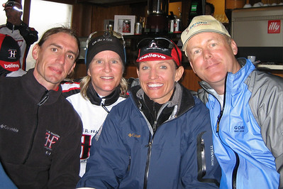 Still in the bar/cafe on top of Col du Grand St. Bernard, ride leader Mark Schwab (CO), me, Karen, and Jim Turner (CA) strike a pose.  The Swiss/Italian border was at the top of the col, so we are in Italy now.
