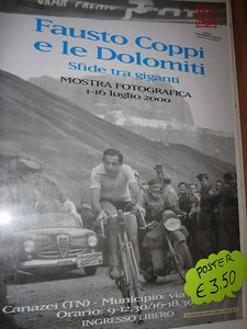 Stage 1: We\'re going where Coppi\'s been...a poster of the legend at the cafe on Passo Sella.