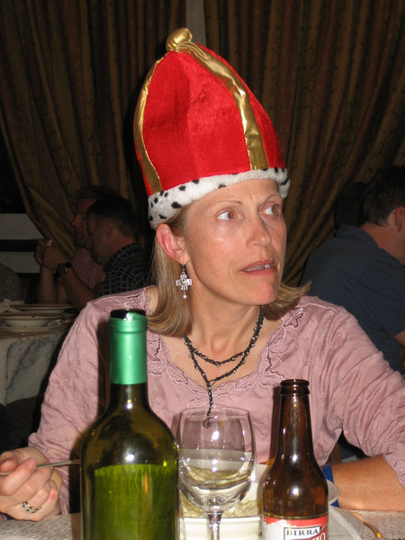 Stage 6: Pat wears the crown and shares her MS Global highlight at dinner.
