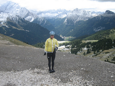 Stage 1: Michelle\'s ready for the descent down Sella, too.