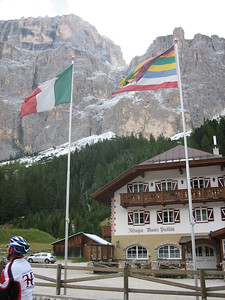 Stage 1: A hotel on the way up Passo Sella.