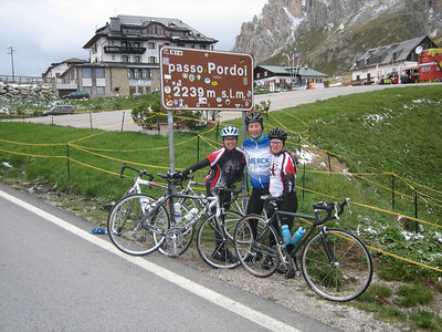 Stage 1: Michelle, Gord, and Kathie hit the final pass of the day -- Passo Pordoi.