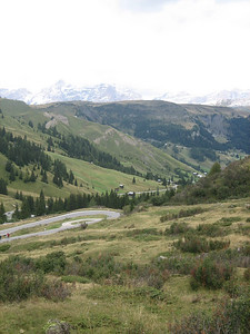 Stage 1: Another view down the Passo Campolongo.