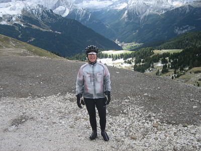 Stage 1: Kathie\'s layered up for the descent down Sella.
