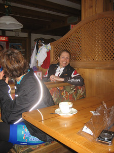 Stage 1: Pat enjoys a little cappuccino at the top of Passo Sella.