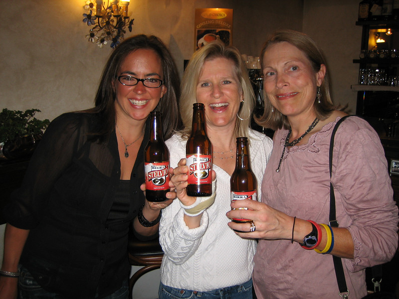 Stage 6: Michelle, Kathie, and Pat treat themselves to yet another Stelvio beer before heading into dinner.