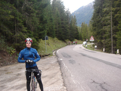 Todd on the way up to Passo Sella