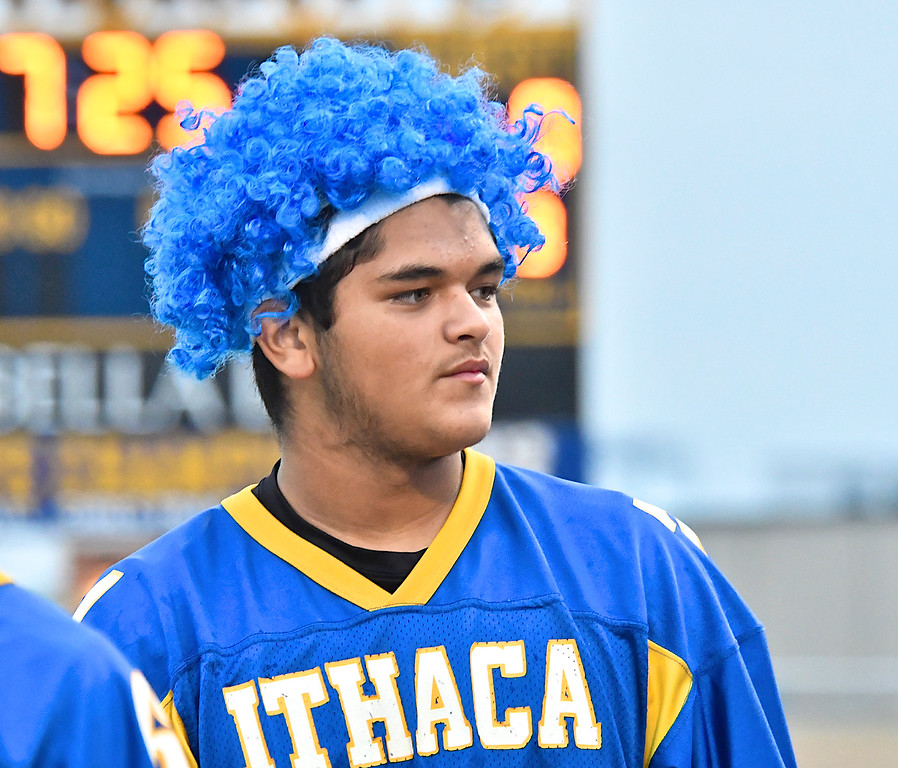 . Ithaca QB Joey Bentley was named King of Homecoming and proved to be King of the game � Kayla Belles was chosen Homecoming Queen � as the Yellowjackets rolled over Ovid-Elsie 51-16 Friday, Oct. 6, 2017. (Sun photo gallery by Skip Traynor)
