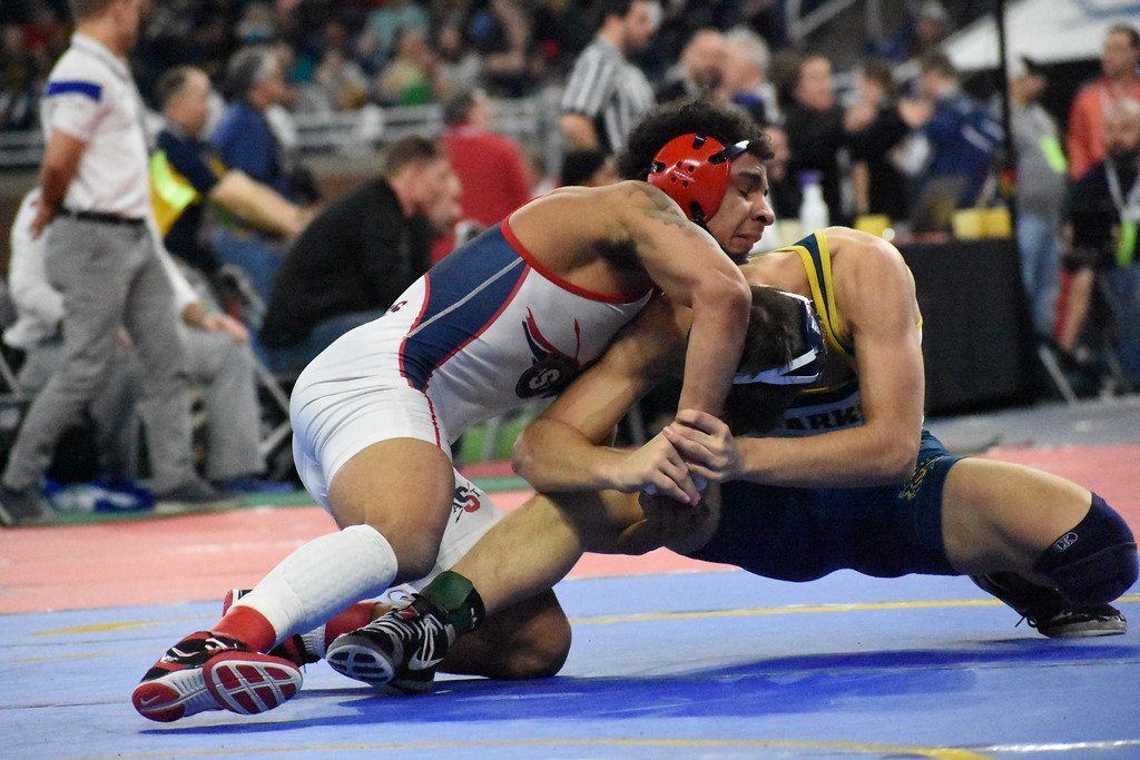 . Nearly 800 wrestlers converged on Ford Field Friday for the first day of the 2018 MHSAA Individual Wrestling Finals.  (Digital First Media photo by Jason Schmitt)