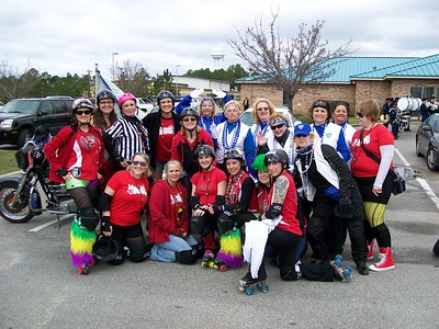 Mardi Gras Parade Motor Maids with Roller Derby ladies — with Yolie Donley and Pearl Coursen.