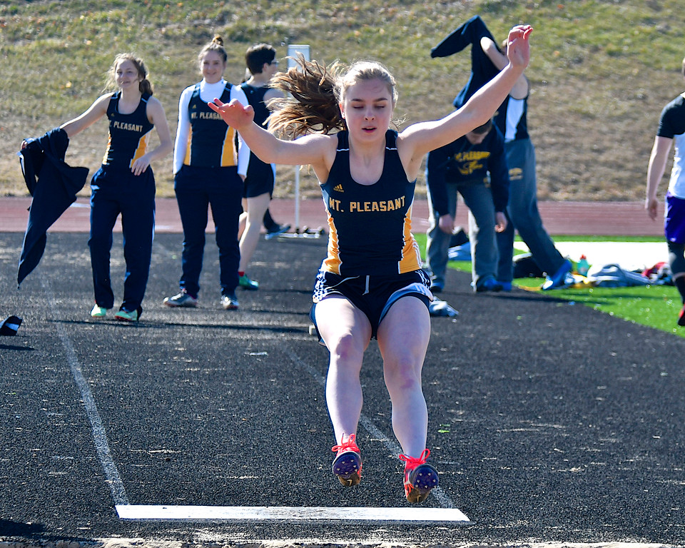 . Mt. Pleasant�s depth was too much for Bay City Central in a dual meet at the Oiler�s Community Stadium Wednesday, April 11, 2018. (Sun photo gallery by Skip Traynor)