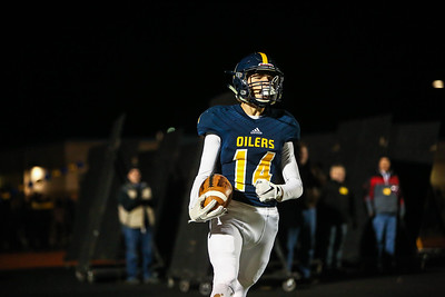 Mt. Pleasant's Carter Nostrant (14) celebrates after scoring a touchdown against Midland Dow Friday, Oct. 12, 2018. Final 14-10 Mt. Pleasant. (PHOTOS BY KEN KADWELL--FOR MORNINGSUN.COM).