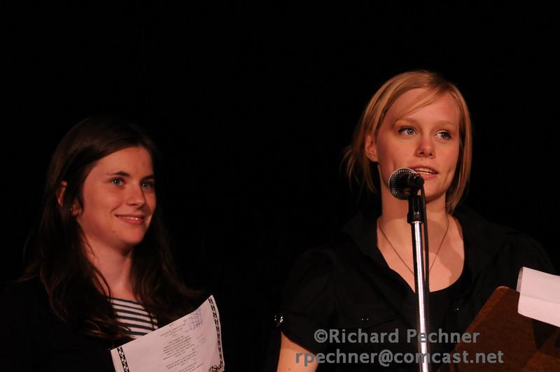 Emcees Lauren Manning (VA'10) and Rosie Fry (TA'10)