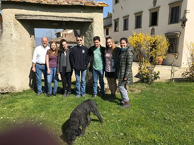 The 13th-century Villa do Campestri where we learned how fine olive oil is produced (not pressed). We had a lesson in tasting three delicious olive oils (sipping, no bread) from this site, Sicily, and across the valley. The dog in the picture is a breed that can locate truffles.