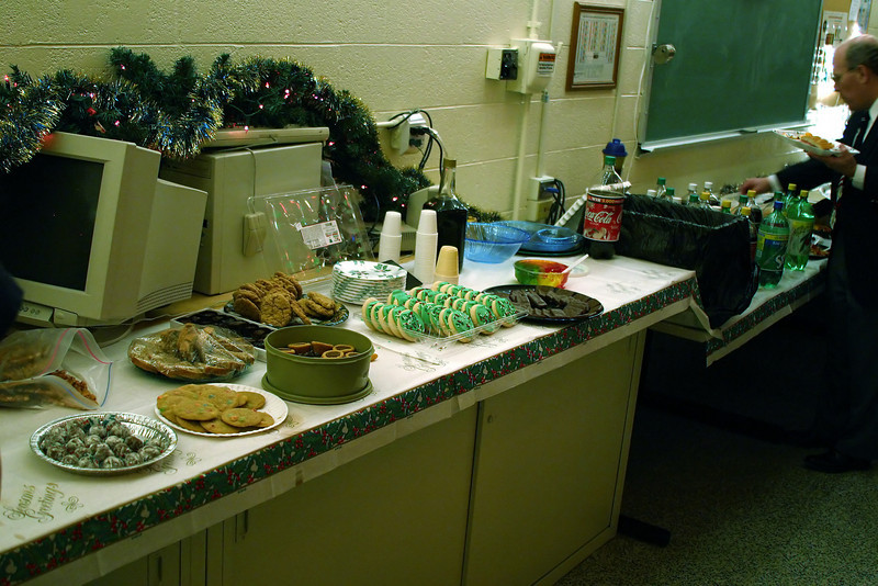 MSOE EECS Christmas Party: Peanut butter cup cookies by mom in green tupperware.