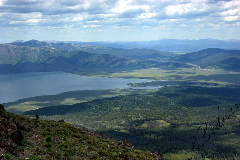 Photo By Bob Bodnar..........View from top of Sawtell Mountain.  it was a long drive up on a narrow gravel road. Looking at Henry's Lake.