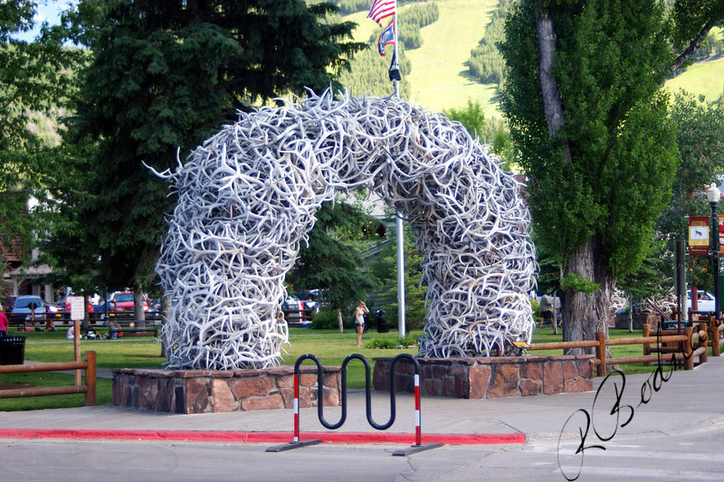 Photo By Bob Bodnar.......................................Elk Antlers at Entrance to Park in Jackson Hole WY. ( One Arch at each Corner of park )