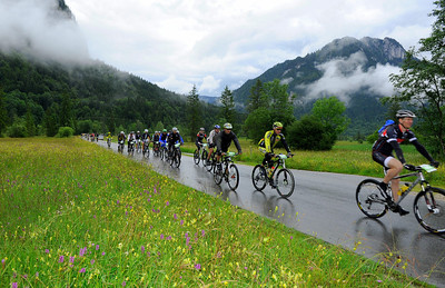 Field on track of stage 1 of the 2012 CRAFT BIKE TRANSALP from Oberammergau, Germany, to Imst, Austria  First stage leads over 97.80 km and 2,215 meters in elevation from Oberammergau, Germany, to Imst, Austria  © Craft Bike Transalp/Peter Musch