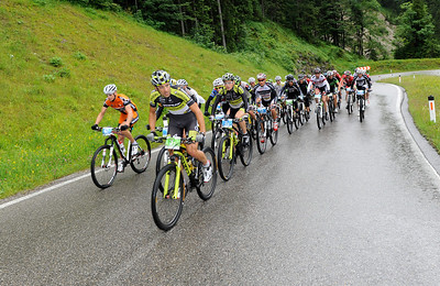 Leading group of pro teams led by Alban Lakata (AUT) of Topeak Ergon Racing on track of stage 1 of the 2012 CRAFT BIKE TRANSALP from Oberammergau, Germany, to Imst, Austria  First stage leads over 97.80 km and 2,215 meters in elevation from Oberammergau, Germany, to Imst, Austria  © Craft Bike Transalp/Peter Musch