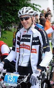 Start of the 2012 CRAFT BIKE TRANSALP   First stage leads over 97.80 km and 2,215 meters in elevation from Oberammergau, Germany, to Imst, Austria  2011 Transalp winner Konny Looser (SUI) of Team Stöckli  © Craft Bike Transalp/Peter Musch