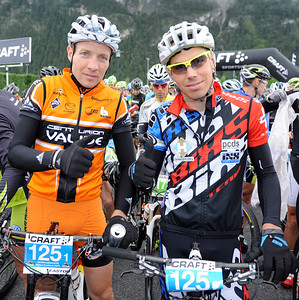 Start of the second 2012 CRAFT BIKE TRANSALP stage  Second stage led over 77.90 km and 3,274 meters in elevation from Imst, Austria, to Ischgl, Austria  Markus Kaufmann (GER), left of Centurion-Vaude and his partner Thomas Stoll (SUI) of BiXS iXS Pro Team; the pairing won the second stage  © Craft Bike Transalp/Peter Musch