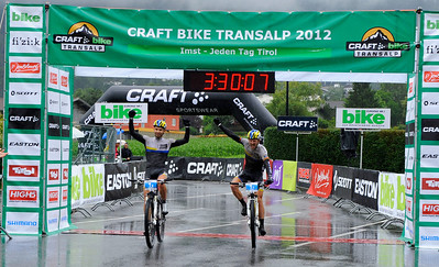 Finish of the 2012 CRAFT BIKE TRANSALP's opening stage  Winners of stage 1, Tim Böhme (GER, left) and Karl Platt (GER) of Team Bulls  First stage leads over 97.80 km and 2,215 meters in elevation from Oberammergau, Germany, to Imst, Austria  © Craft Bike Transalp/Peter Musch
