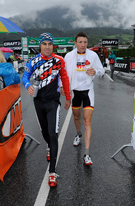 Finish of the 2012 CRAFT BIKE TRANSALP's opening stage  Second ranked elite team Thomas Stoll (SUI) of BiXS iXS (left) and Transalp partner Markus Kaufmann (GER) of Centurion-Vaude  First stage leads over 97.80 km and 2,215 meters in elevation from Oberammergau, Germany, to Imst, Austria  © Craft Bike Transalp/Peter Musch