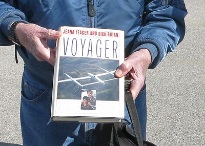 He and Jeana Yeager flew around the world .. in 9 days without landing.  The Voyager hangs in the Air and Space Museum in Washington