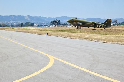 """The WW II C-47 """"Gooney Bird"""" guarding  taxiway F which will be the location of our first Spring Mega Swap Meet"""