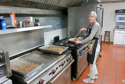 """Marcia Rice busy rustling up the """"grub"""" that will be used to feed at least 100 volunteers on Saturday"""