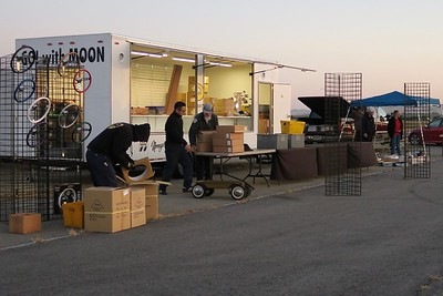 The first of the vendors starts to set up their items for sale