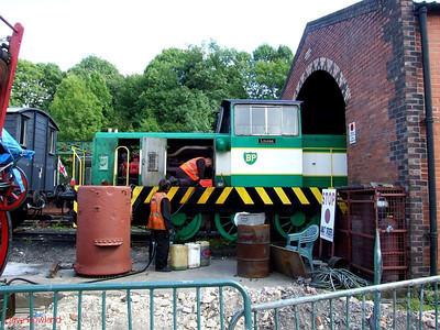 """Louise"" outside the engine shed at Elsecar. 16th August 2009."