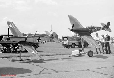 Large scale models of Messerschmitt ME109 & Supermaine Spitfire, Royal Navy Airshow, Lee-on-Solent July 1990.
