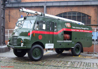 'Green Goddess' fire appliance RXP 897. Manchester Museum of Science & Industry. 15th August 2009.