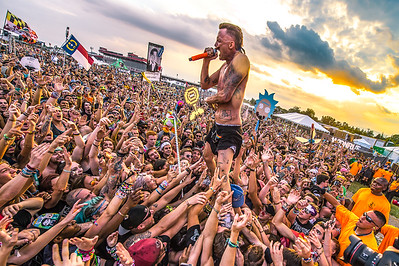 Crowd surfing at sunset with Die Antwoord