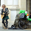 London, UK A busker in Trafalgar Square wears green to celbrate St Patrick's day. - 19/03/2017