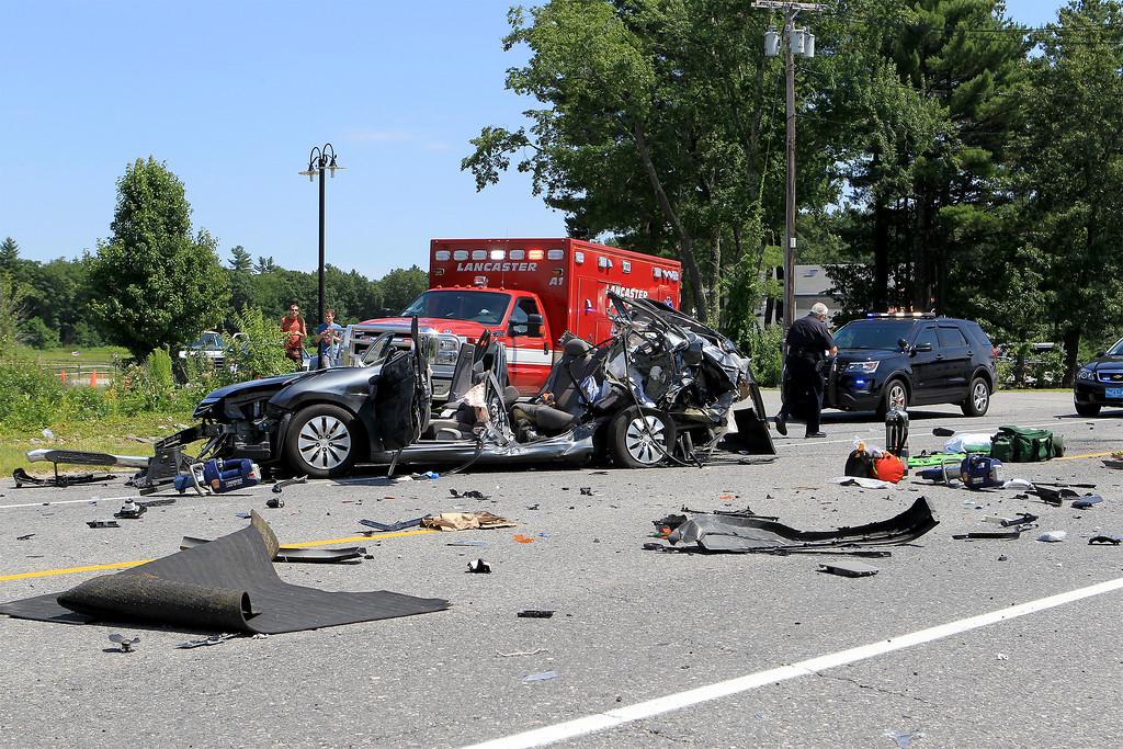 . A two-car crash on Route 70 in Lancaster on Thursday, July 6, 2017. SENTINEL & ENTERPRISE / Scott LaPrade
