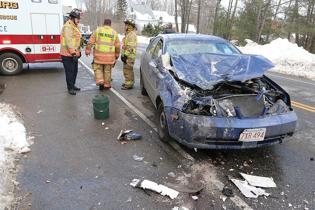 . A Suzuki Forenza rear ended an RV on Chase Road in Lunenburg on Juanuary 9, 2018. A view of the damage to the Suzuki. SENTINEL & ENTERPRISE/JOHN LOVE