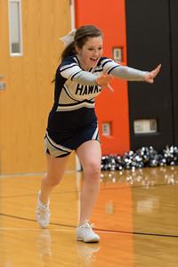 MV Hawks 2013-2014 Varsity Cheerleaders, at Gibsonsburg, 2014-02-21