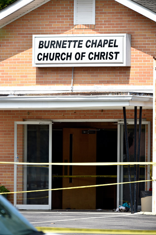 . Police tape lines the scene at the Burnette Chapel Church of Christ after a deadly shooting at the church on Sunday, Sept. 24, 2017, in Antioch, Tenn. (Andrew Nelles/The Tennessean via AP)