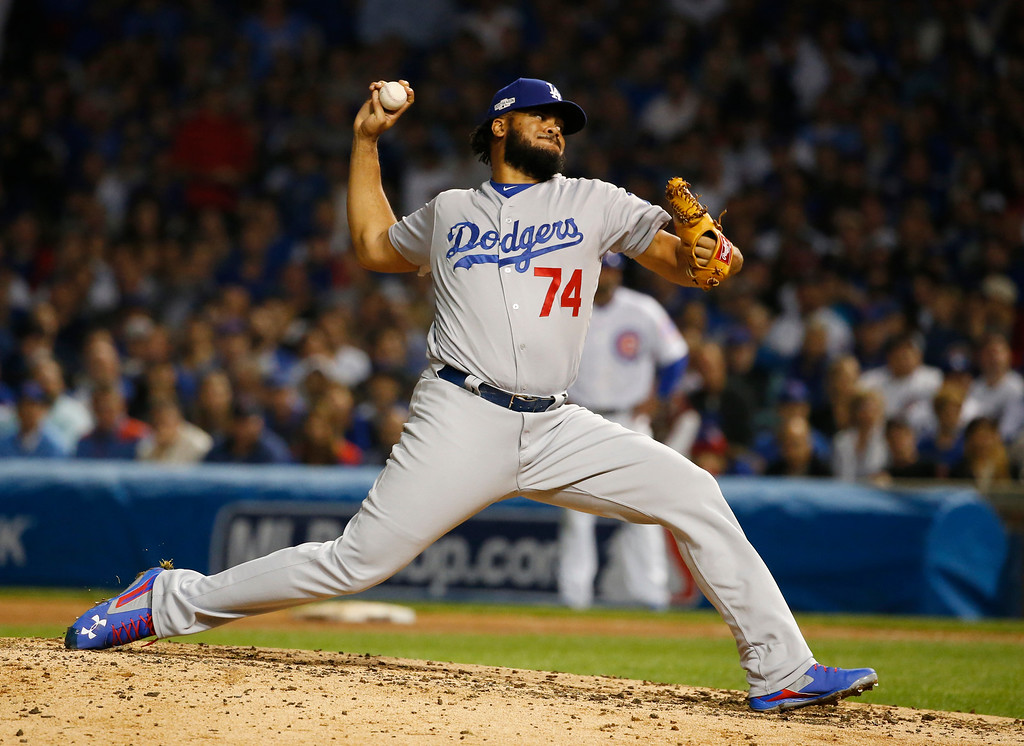 . Los Angeles Dodgers relief pitcher Kenley Jansen (74) throws during the eighth inning of Game 2 of the National League baseball championship series against the Chicago Cubs, Sunday, Oct. 16, 2016, in Chicago. (AP Photo/Nam Y. Huh)