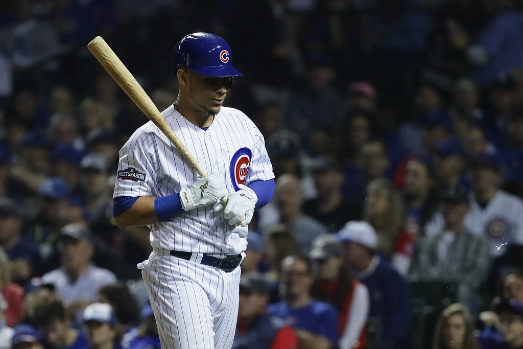 . CHICAGO, IL - OCTOBER 16:  Willson Contreras #40 of the Chicago Cubs walks back to the dugout after striking out in the third inning against the Los Angeles Dodgers during game two of the National League Championship Series at Wrigley Field on October 16, 2016 in Chicago, Illinois.  (Photo by Jonathan Daniel/Getty Images)