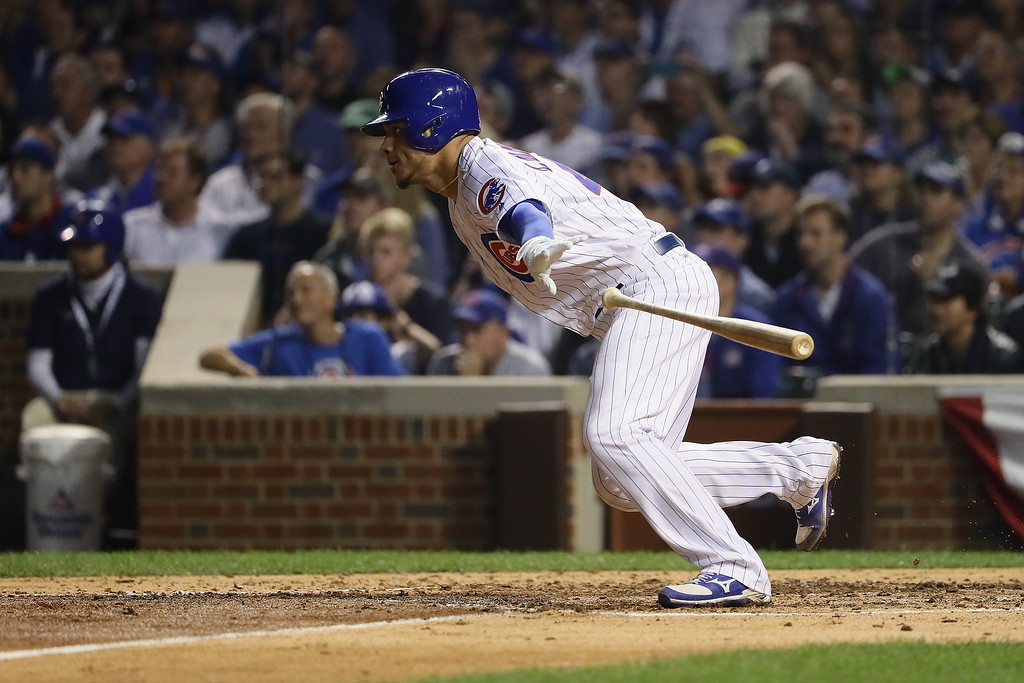 . CHICAGO, IL - OCTOBER 16:  Willson Contreras #40 of the Chicago Cubs hits a single in the fifth inning against the Los Angeles Dodgers during game two of the National League Championship Series at Wrigley Field on October 16, 2016 in Chicago, Illinois.  (Photo by Jonathan Daniel/Getty Images)