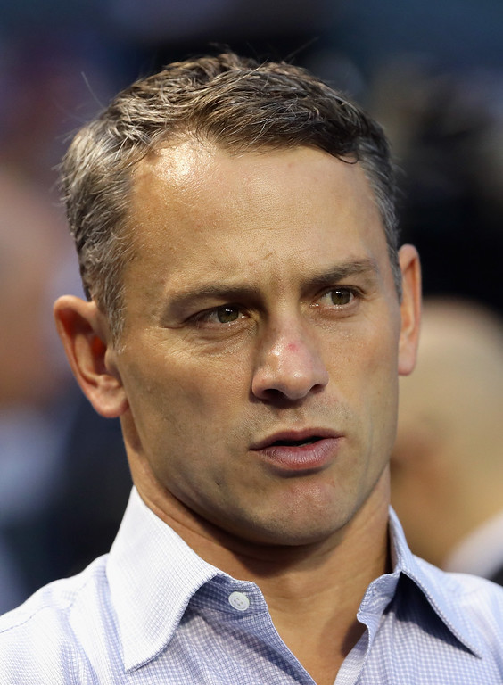. CHICAGO, IL - OCTOBER 16:  Cubs General Manager Jed Hoyer looks on prior to game two of the National League Championship Series between the Chicago Cubs and the Los Angeles Dodgers at Wrigley Field on October 16, 2016 in Chicago, Illinois.  (Photo by Jonathan Daniel/Getty Images)