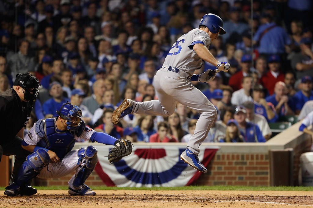 . CHICAGO, IL - OCTOBER 16:  Chase Utley #26 of the Los Angeles Dodgers avoids a pitch in the fifth inning against the Chicago Cubs during game two of the National League Championship Series at Wrigley Field on October 16, 2016 in Chicago, Illinois.  (Photo by Jamie Squire/Getty Images)