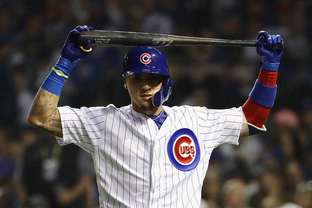. CHICAGO, IL - OCTOBER 16:  Javier Baez #9 of the Chicago Cubs reacts after striking out in the second inning against the Los Angeles Dodgers during game two of the National League Championship Series at Wrigley Field on October 16, 2016 in Chicago, Illinois.  (Photo by Jonathan Daniel/Getty Images)