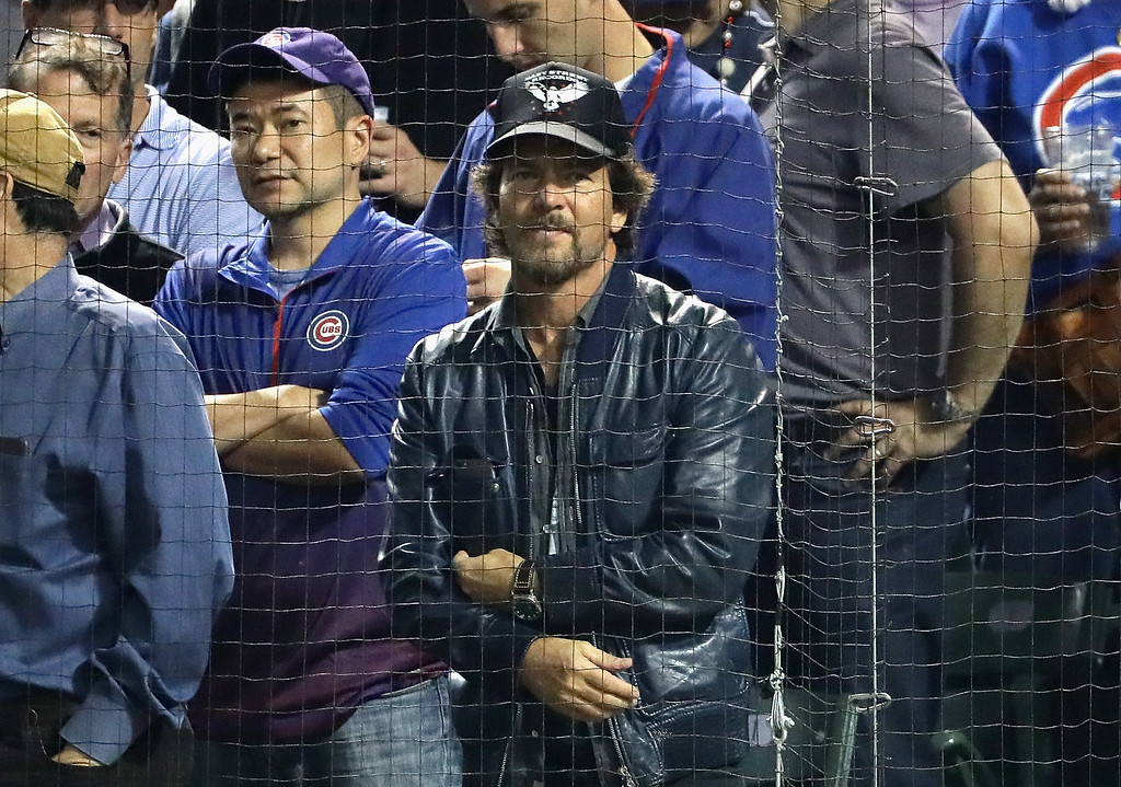 . CHICAGO, IL - OCTOBER 16:  Musician Eddie Vedder looks on during game two of the National League Championship Series between the Chicago Cubs and the Los Angeles Dodgers at Wrigley Field on October 16, 2016 in Chicago, Illinois.  (Photo by Jonathan Daniel/Getty Images)