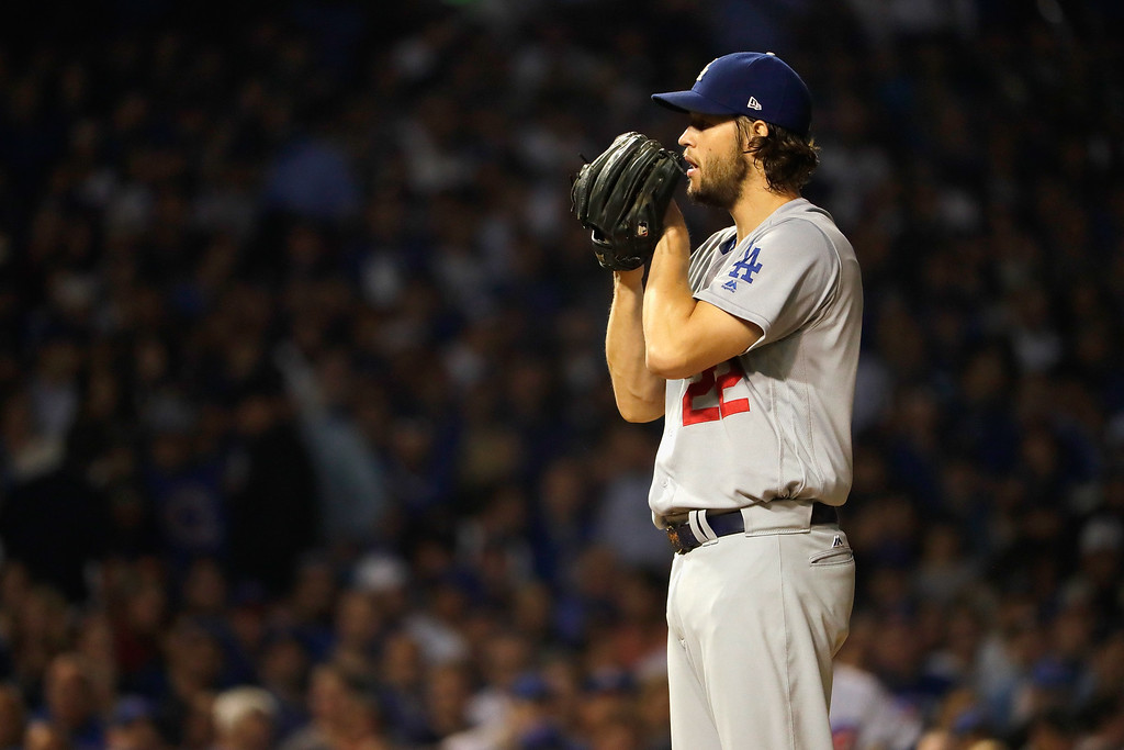 . CHICAGO, IL - OCTOBER 16:  Clayton Kershaw #22 of the Los Angeles Dodgers stands on the pitcher\'s mound in the first inning against the Chicago Cubs during game two of the National League Championship Series at Wrigley Field on October 16, 2016 in Chicago, Illinois.  (Photo by Jamie Squire/Getty Images)