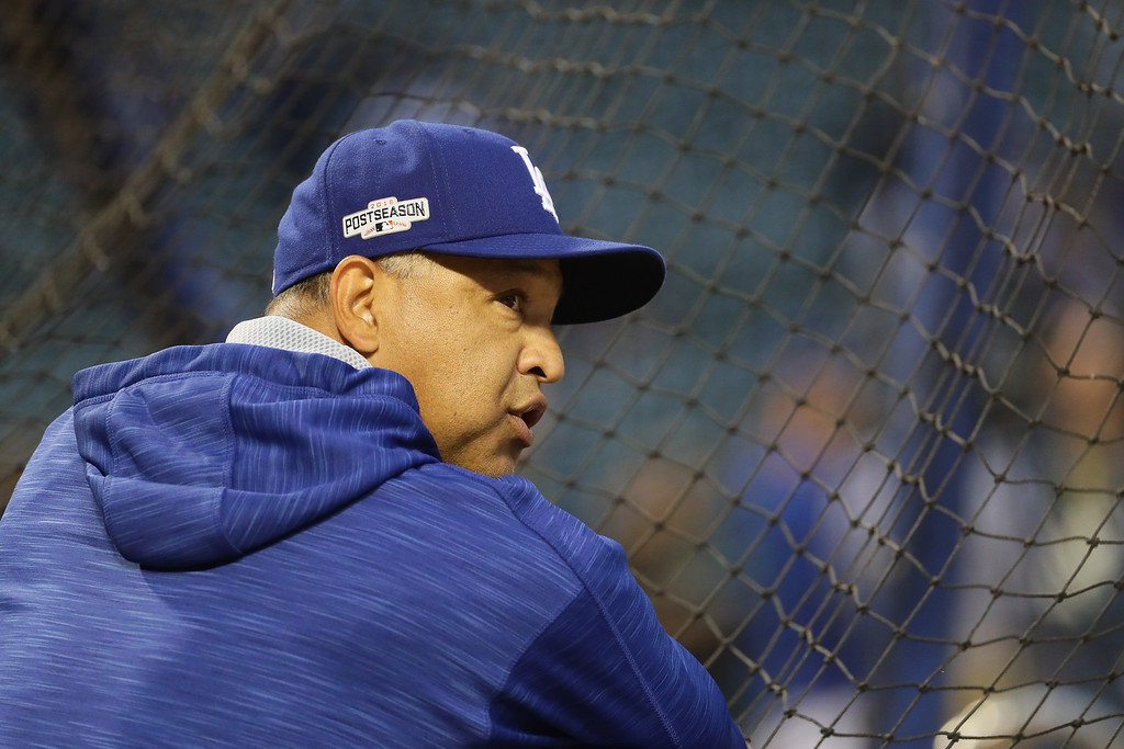 . CHICAGO, IL - OCTOBER 16:  Los Angeles Dodgers manager Dave Roberts looks on prior to game two of the National League Championship Series against the Chicago Cubs at Wrigley Field on October 16, 2016 in Chicago, Illinois.  (Photo by Jonathan Daniel/Getty Images)